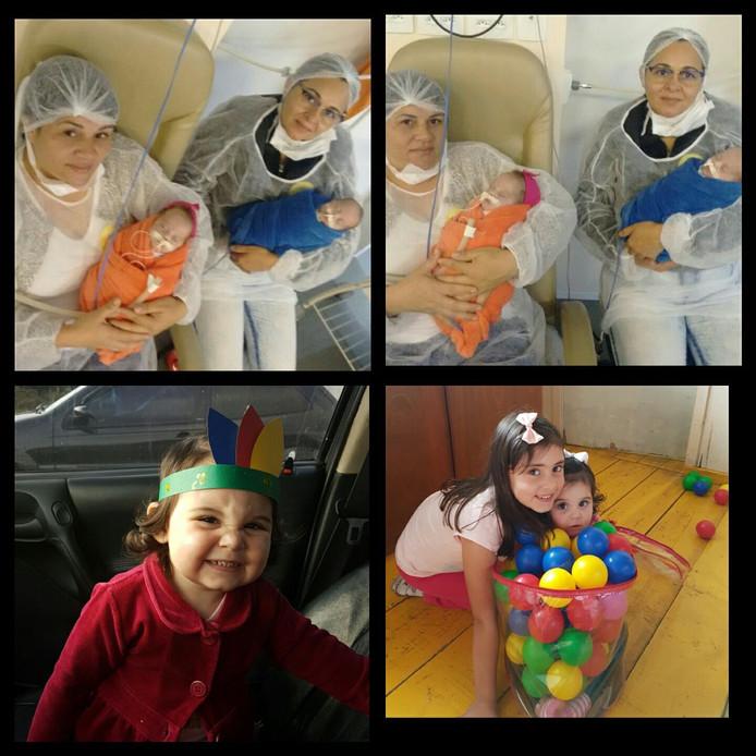 De tweeling in het ziekenhuis. Onderaan staan een nichtje en hun zusje.