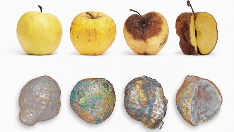 De buitenkant rot weg terwijl de binnenkant nog bruikbaar is. Het rotten van een appel (boven) lijkt op het sterfbed van een katalysatordeeltje in ruwe olie (beneden), ontdekten Utrechtse onderzoekers. De katalysator is een stof die de omzetting van ruwe aardolie in benzine versnelt. Maar metaaldeeltjes in de olie hechten zich op de buitenschil van de katalysator, waardoor die niet meer goed kan reageren met de olie. Beeld Illustratie Universiteit Utrecht