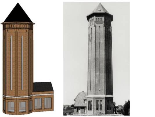 Het plan voor een watertoren aan de rand van het stadsstrand.