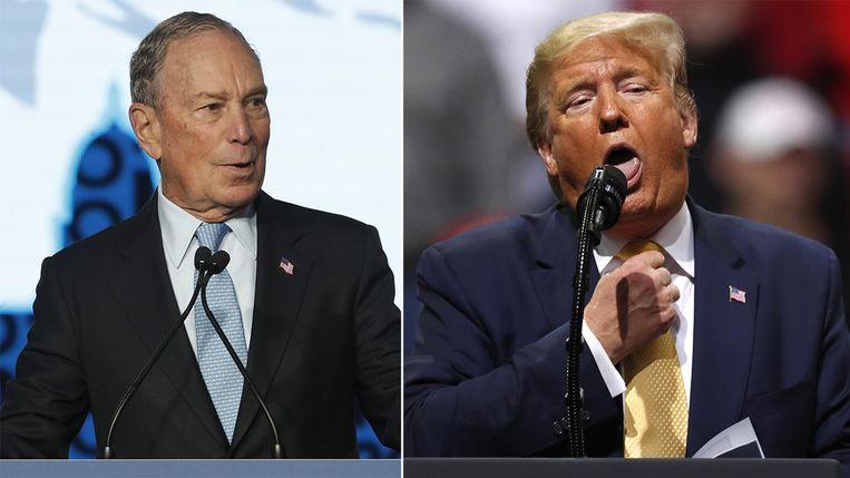 Michael Bloomberg (links) en Donald Trump. Die laatste toonde tijdens een rally met een wurgend gebaar hoe Bloomberg het gedaan had tijdens zijn eerste Democratische debat: niet goed.