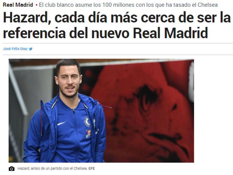 Het artikel op de website van Marca.