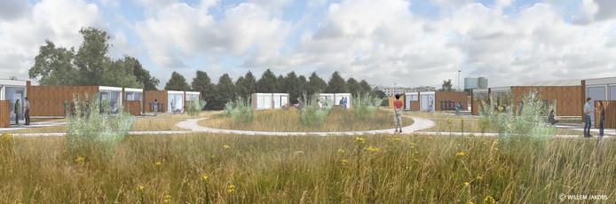 Impressie van de tiny houses die corporatie Volkshuisvesting Arnhem gaat realiseren in het project Stadsblokken-Meinerswijk van KondorWessels Projecten.