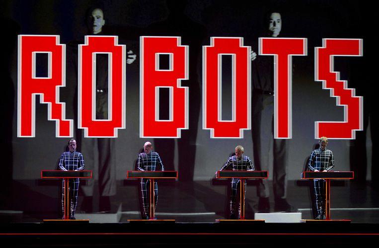 Kraftwerk tijdens de eerste van vier optredens in 3D-projectie in het Evoluon, Eindhoven. Beeld ANP