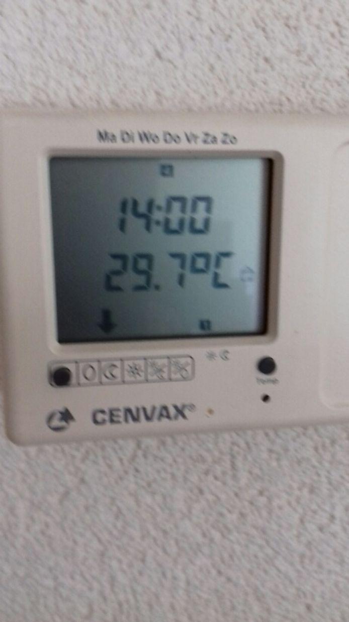 In Etten-Leur tikt de thermostaat van Gerry Hoogaerts 29,7 graden aan.