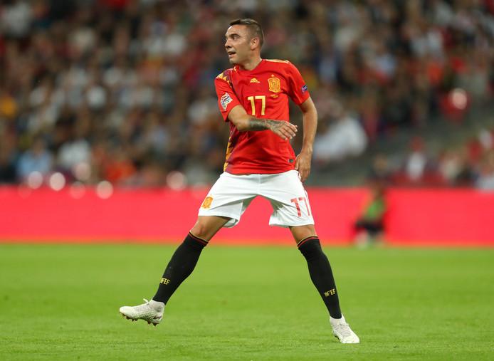 Iago Aspas in de wedstrijd tegen Engeland op Wembley van afgelopen zaterdag.