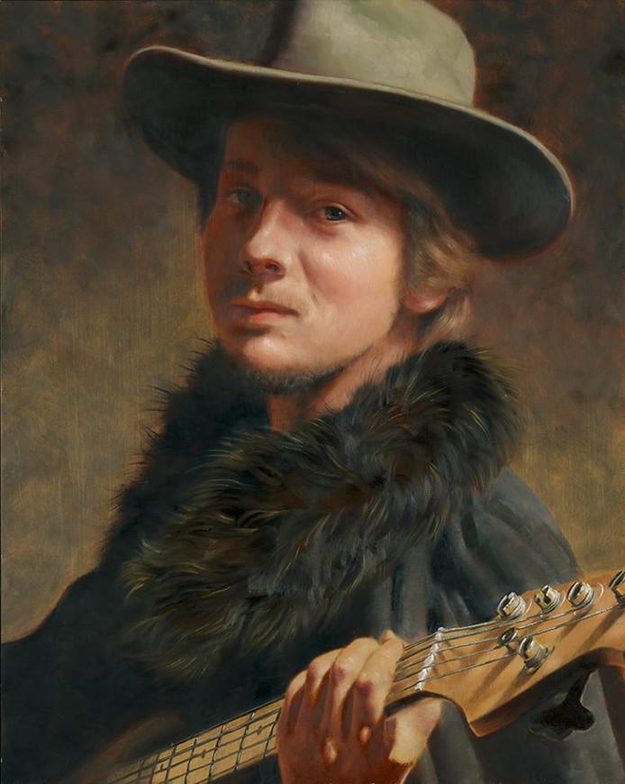 Vriend Karel poseerde met zijn basgitaar voor de moderne variant van het schilderij van Jacob Adriaenz. Backer.
