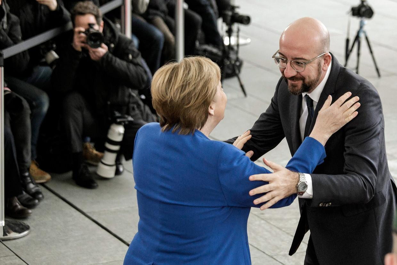 Duits kanselier Angela Merkel en Charles Michel.
