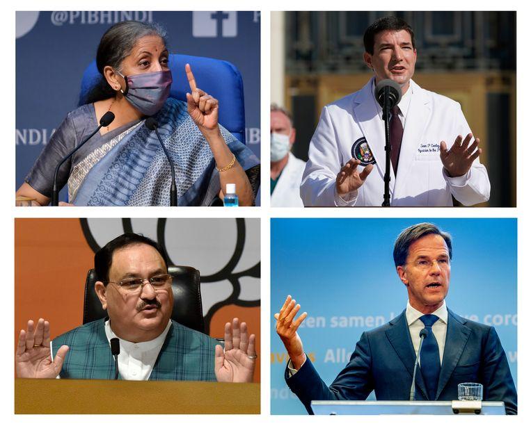 De Indiase minister van Financiën Nirmala Sitharaman (linksboven), Witte Huis-arts Sean Conley (rechtsboven), Indiaas politicus J.P. Nadda (linksonder) en Mark Rutte. Beeld Getty