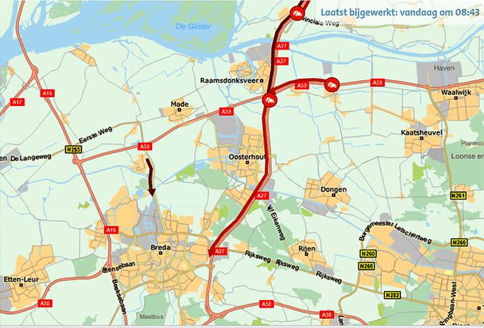 Snelweg A27 afgesloten richting Breda na ongeluk met vrachtwagen.