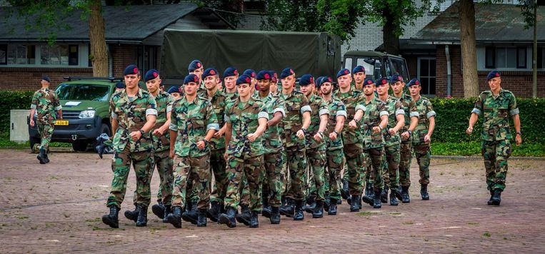 Mariniers tijdens een training op de kazerne in Doorn. Beeld ANP