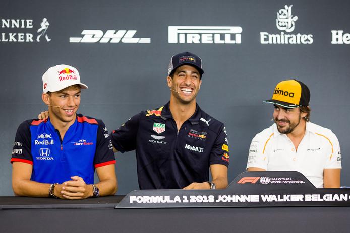 Drie hoofdrolspelers: Gasly, Ricciardo en Alonso