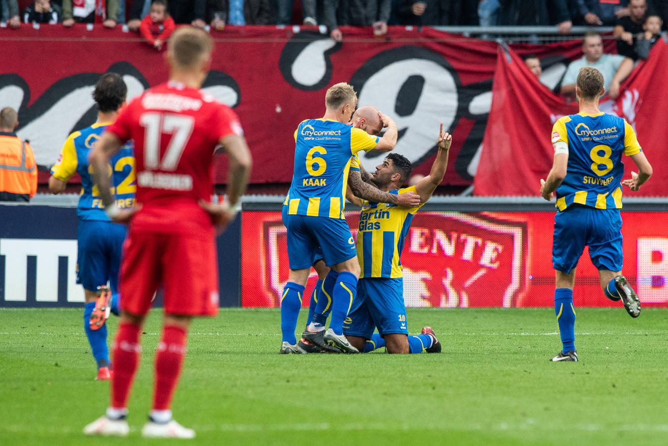 ENSCHEDE, De Grolsch Veste, 08-09-2018, Football, Dutch Keuken Kampioen Divisie, Season 2018 / 2019. FC Oss player Huseyin Dogan scores 0-2 during the match Twente - TOP Oss.