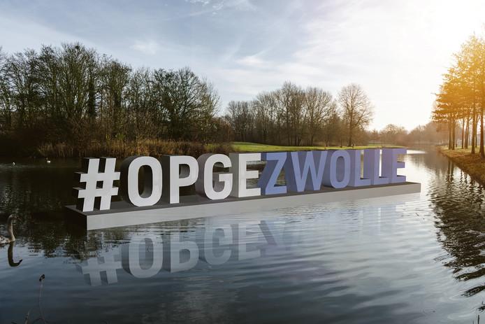 Visualisatie van de metershoge letters die in Zwolle zullen komen vanaf 14 april. Eerst in het water bij Park de Wezenlanden, later op verschillende plekken in de stad