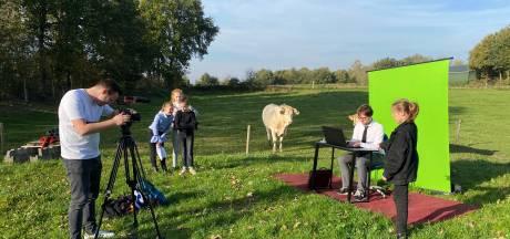 Kantoormannen en hondenpoep op online kidscongres
