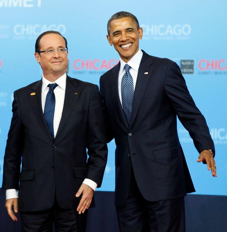 De Franse president François Hollande en de Amerikaanse president Barack Obama in mei 2012. Beeld AP
