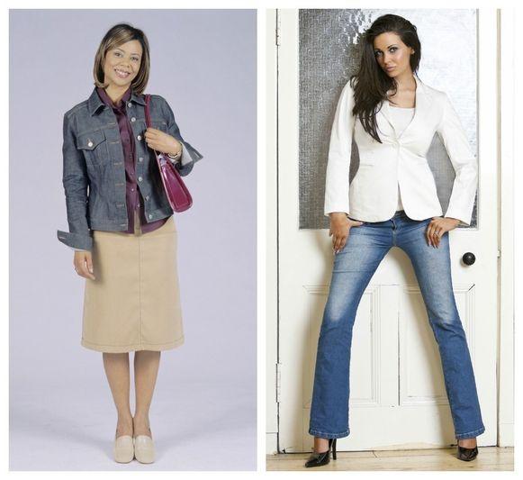 Jeansvestje en rechte rok is vervangen door blazer en bootcut jeans.