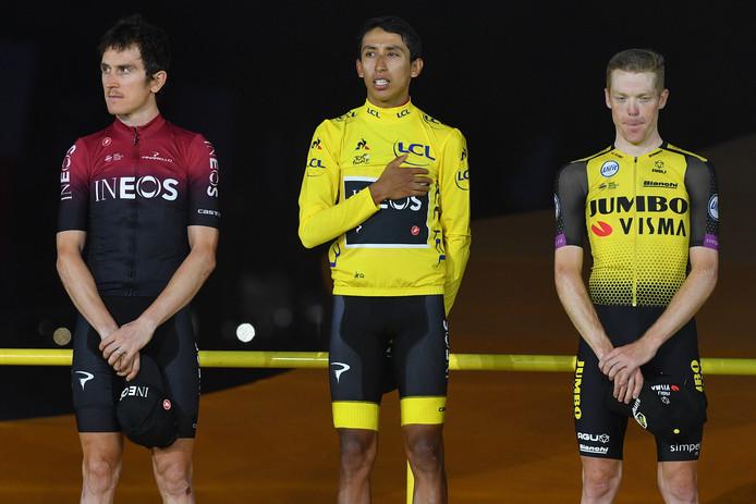 Vlnr nummer twee Geraint Thomas, winnaar Egan Bernal en nummer drie Steven Kruijswijk.