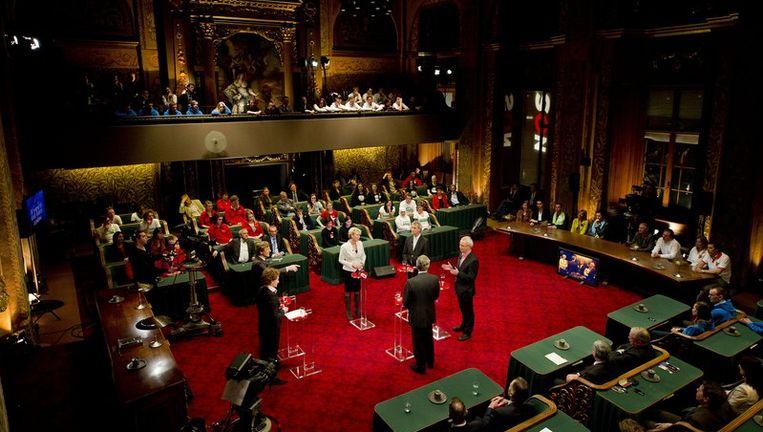 Lijsttrekkers voor de Eerste Kamer tijdens het verkiezingsdebat in de Eerste Kamer van halverwege februari. Beeld null