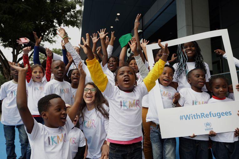 Een koor van vluchtelingenkinderen, zondag tijdens een optreden in Sao Paulo, Brazilië. De kinderen uit veertien verschillende landen, van Afghanistan tot Venezuela, doen mee aan een speciaal programma van de VN voor vluchtelingen.