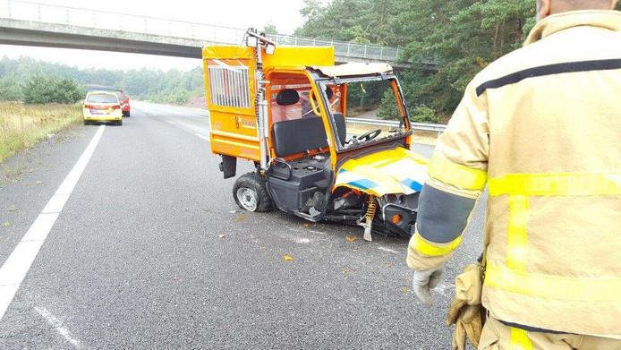 De side by side van de stichting is zwaar beschadigd geraakt bij het ongeluk.
