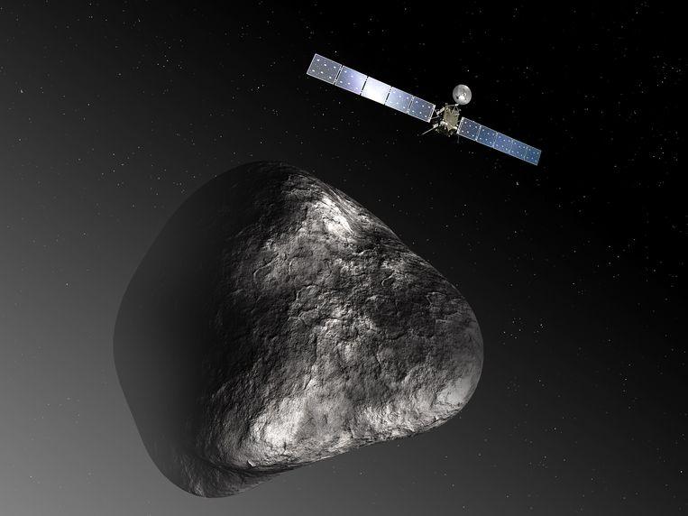 Een impressie van de Rosetta die cirkelt om de komeet 67P/Tsjoerjoemov-Gerasimenko. Beeld belga