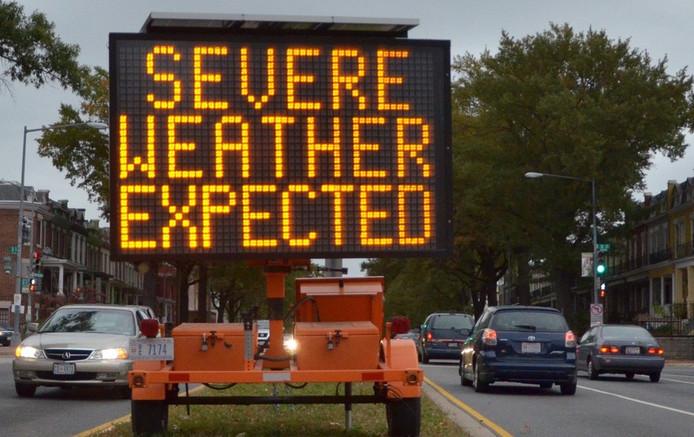 Een waarschuwingsbord zondag in Washington, DC.
