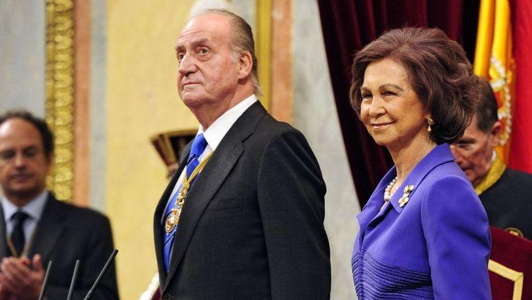 De Spaanse koning Juan Carlos en zijn vrouw Sofia. Beeld afp