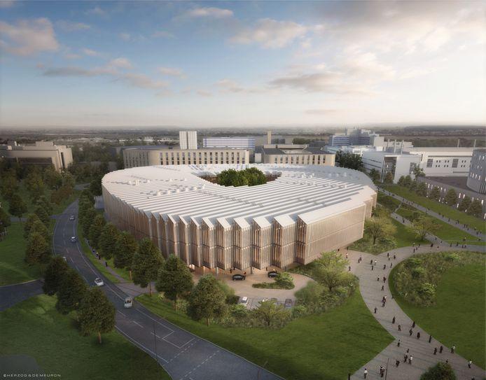 Een artist impression van het nieuwe hoofdkantoor van Farmaceutisch bedrijf AstraZeneca in Cambridge.