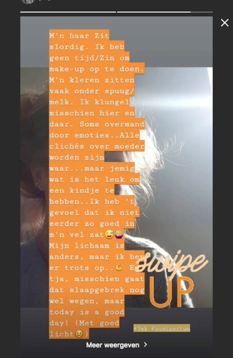 Op Instagram Stories vertelde Josje hoe ze het prille moederschap ervaart.