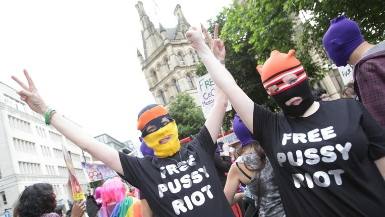 Pussy Riot-demonstratie in Manchester. Beeld getty
