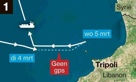 Dit vrachtschip wijkt af van zijn bekende routes en koerst naar Tripoli, Libanon. De gps staat uit tussen 4 maart 19.30 uur en 5 maart 15.00 uur.