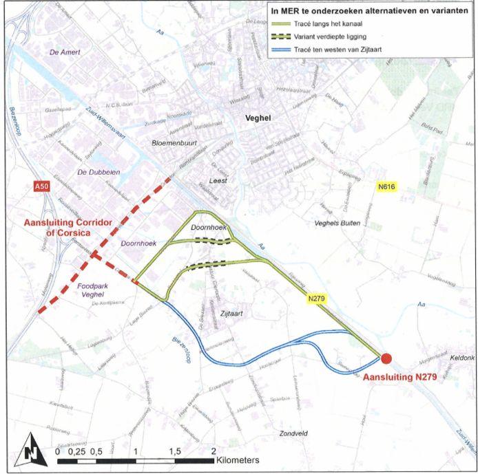 De tracés waar het om gaat tussen de N279 en industrieterrein Doornhoek bij Zijtaart.