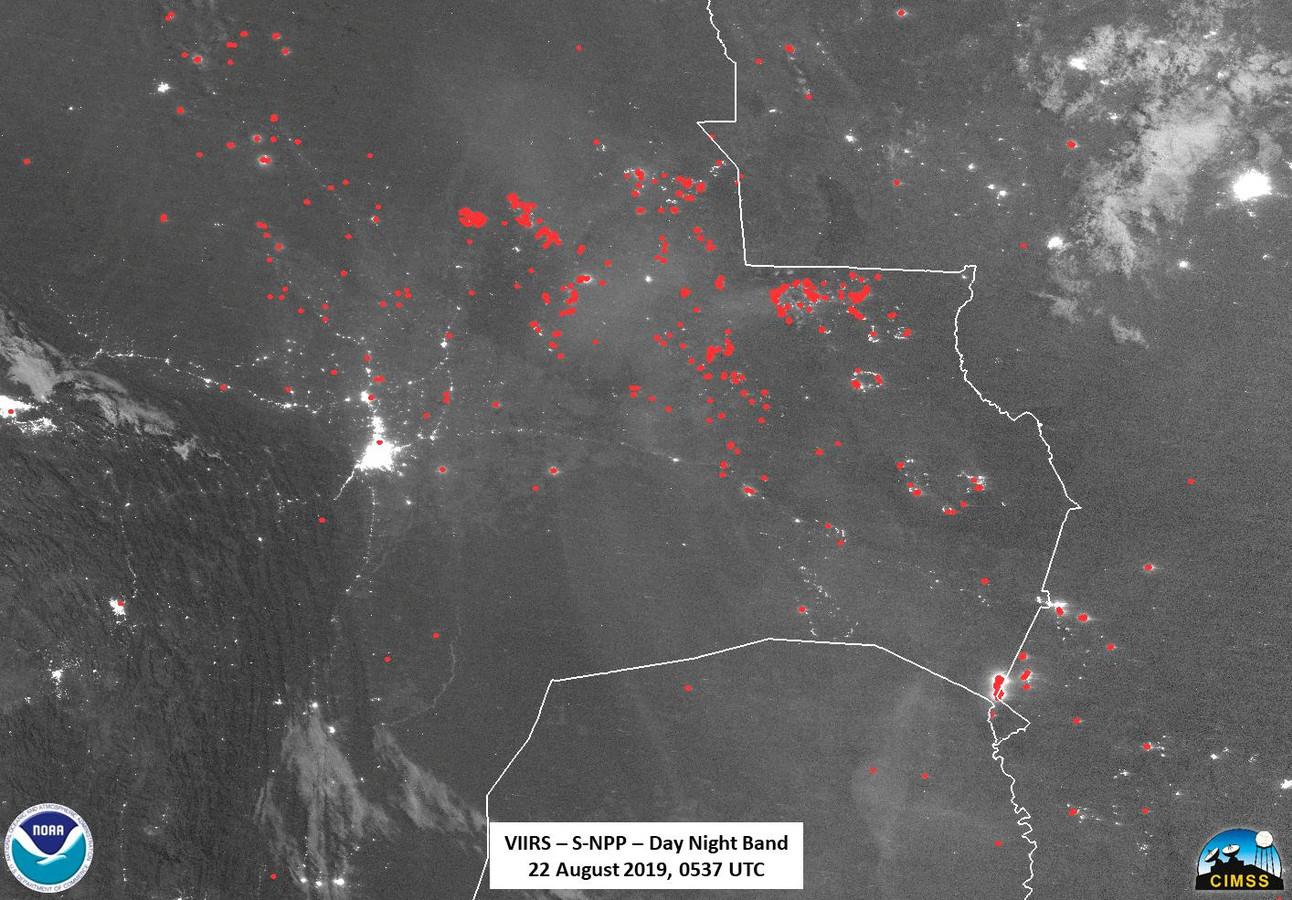 Images de la NASA: vue satellite des feux en Bolivie