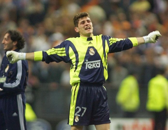 Iker Casillas na de gewonnen Champions League-finale met Real Madrid, op 24 mei 2000.