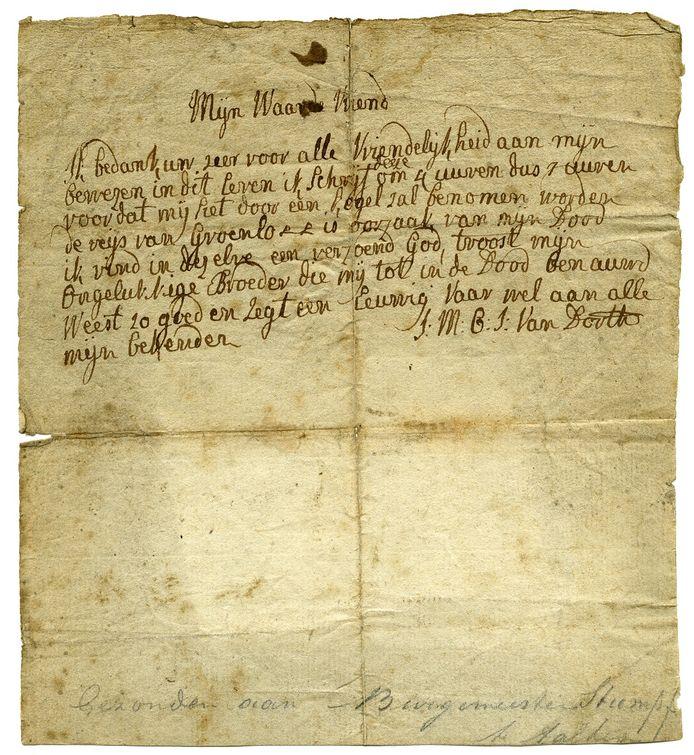 De afscheidsbrief van de geexecuteerde freule Van Dorth uit 1799.