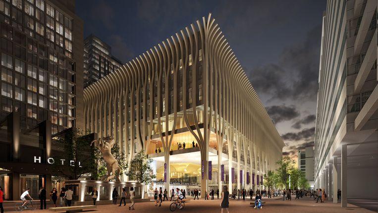 Ontwerp van het nieuwe cultuurgebouw in Den Haag. Beeld .