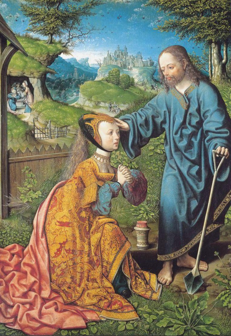 Jacob van Oostsanen, Noli me tangere, 1507, waarin Jezus Maria Magdalene wél aanraakt. Gemäldegalerie Alte Meister Kassel. Beeld Gemäldegalerie Alte Meister Kassel