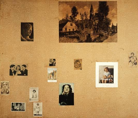 De wand in de slaapkamer van Anne Frank.