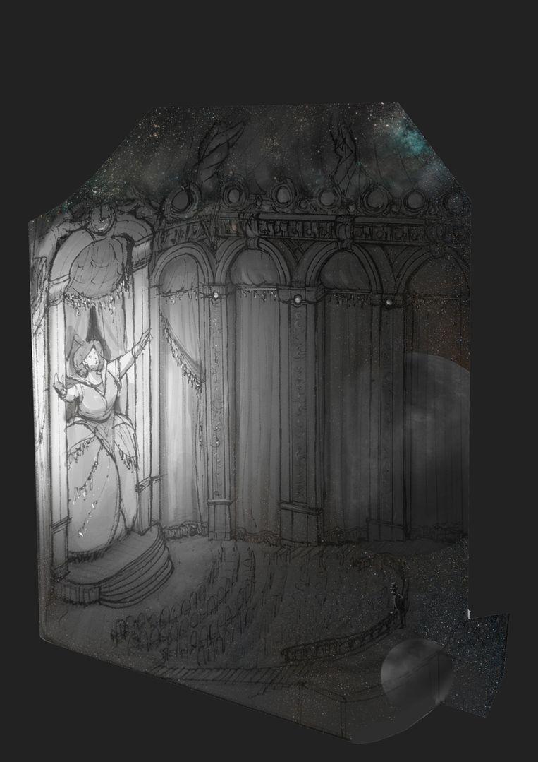 Schets van de Orbit Hall, waar Asteria zingt. Eerste akte uit Die Fernweh Oper. Beeld Daniël Ernst