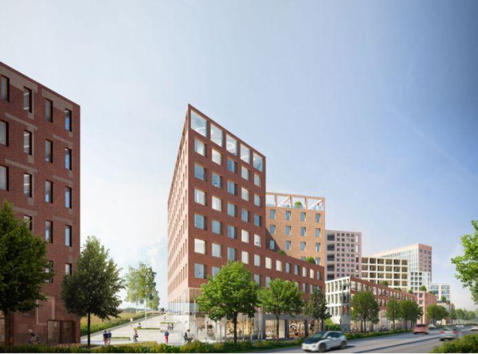 Het project 5Tracks in Breda. Links het NS-station en helemaal rechts het Gerechtsgebouw.