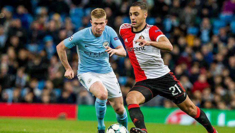 Feyenoord-speler Sofyan Amrabat in actie tegen Manchester City. Beeld anp