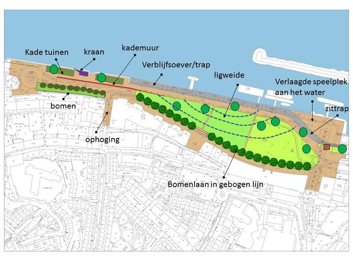 Het schetsontwerp van de nieuwe oostelijke Waalkade. Een kade straks zonder auto's.