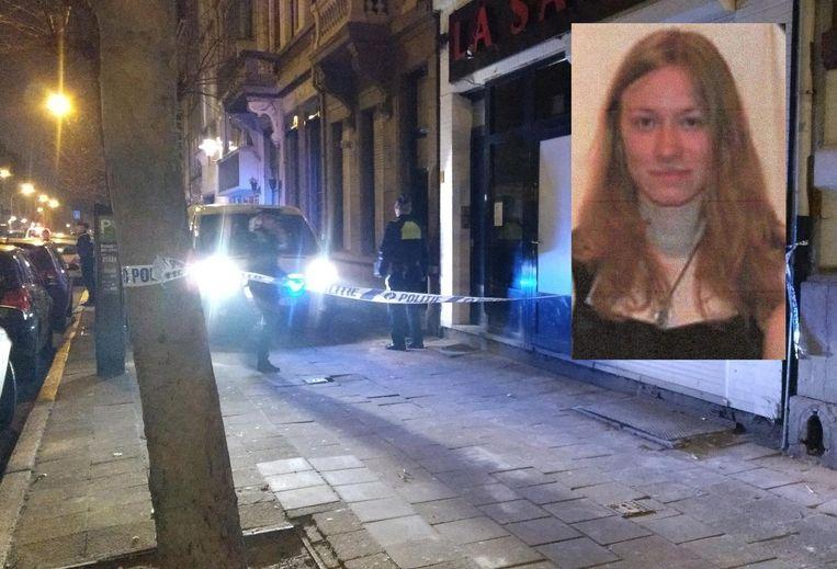 Archieffoto van de huiszoeking in de Van Stralenstraat in Antwerpen, in het kader van de verdwijning van Shashia Moreau. Inzet: het vermoorde meisje zelf.