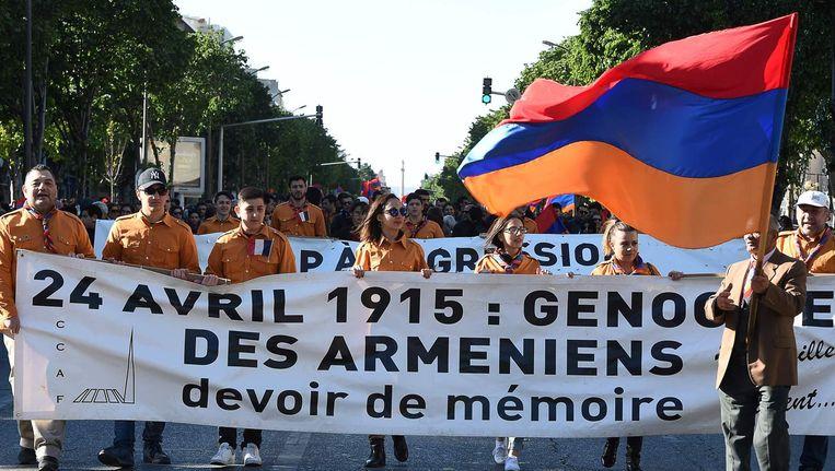 Een Armeense demonstratie in Marseille. Beeld afp