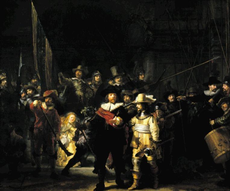 Rembrandt (1606-1669): Het korporaalschap van kapitein Frans Banninck Cocq en luitenant Willem van Ruytenburch, bekend als de ¿Nachtwacht¿. Olieverf op doek uit 1642. ( Collectie Rijksmuseum, Amsterdam.) Beeld