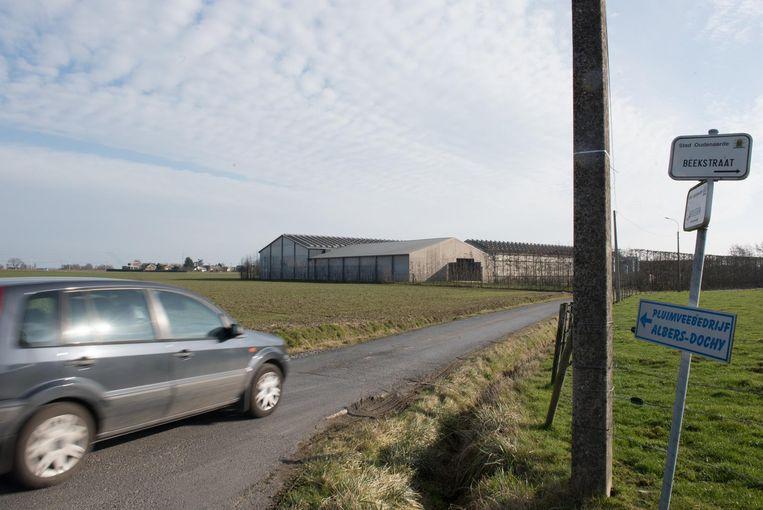 De eigenaar wil een nieuwe stal en uitloopweide links van het bestaande bedrijf.