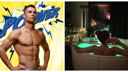 SHOWBITS. Ronaldo poseert halfnaakt en ook deze zangeres geniet van het bubbelbad