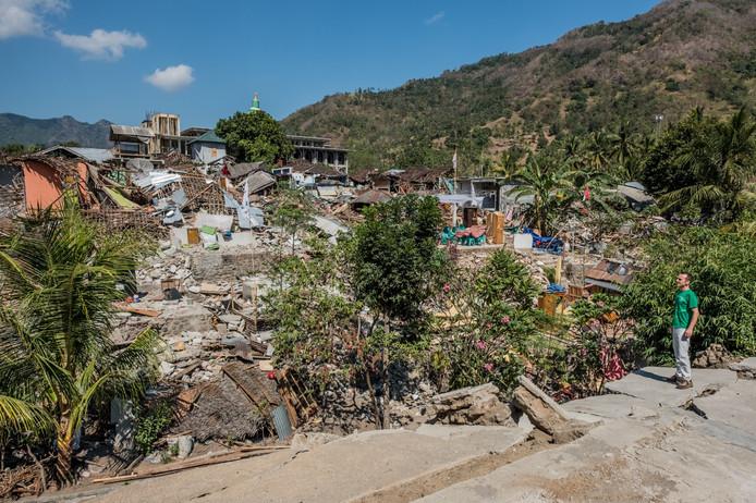 De nieuwe beving heeft aardig wat schade aangericht op Lombok.