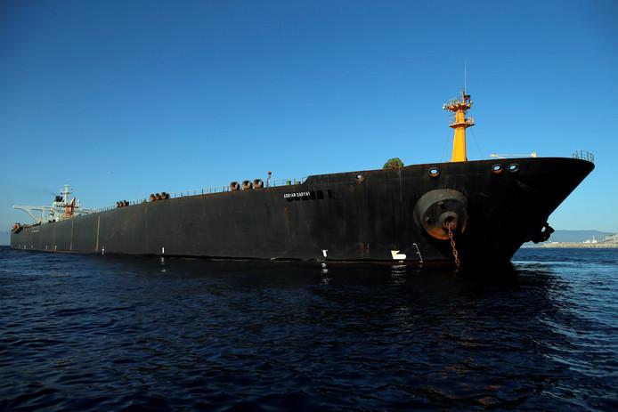 De Iraanse tanker Adrian Darya 1, voorheen Grace 1 geheten, in Gibraltar.
