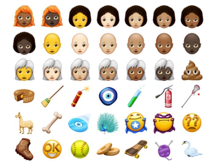 Een deel van de 157 nieuwe emoji's